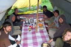 Breakfast while trekking in Kashmir