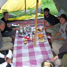 Breakfast while trekking in Kashmir