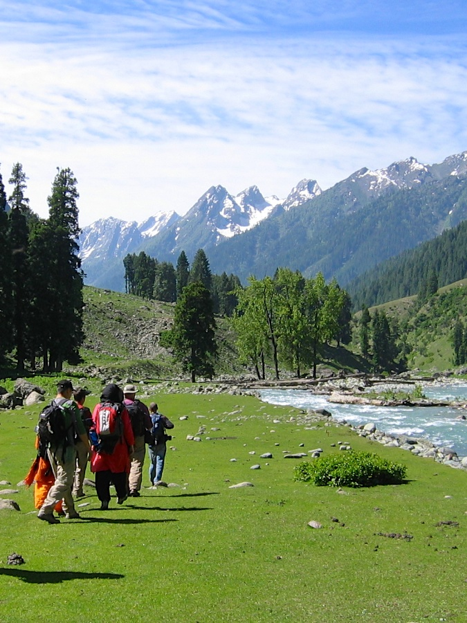 Trekking back to Aru from Lidderwat in Kashmir, India