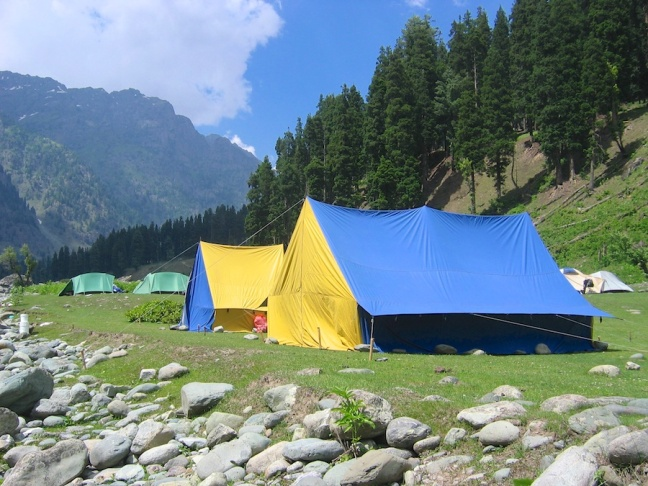 Our dining and kitchen tents at the Lidderwat campsite.